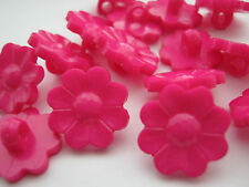 "10 Cerise Pink Flowers Sewing Shank Buttons 17mm  3/4"" Knitting Clothing Crafts"