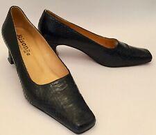 Vintage Real Python Snakeskin heels 6.5 Bison handmade black 1960's