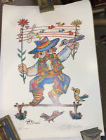 JOVAN OBICAN SIGNED, ART PRINT, 60 of 1000, MAN WITH BIRDS AND MUSIC, LITHOGRAPH