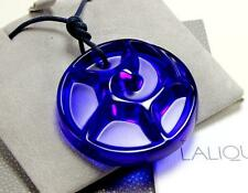 LALIQUE TOURBILLONS BLUE CRYSTAL LARGE ROUND w/ CORD NECKLACE PENDANT WITH BOX