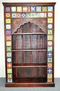 NEW Ceramic Tile Carved Book Case Shelf Display Cabinet Statement Indian Timber