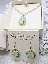 NEW Liz Palacios 14K GP Pacific Opal/Turquoise color Necklace & Earring Set