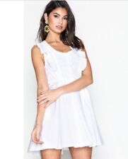 Free People Womens Size Small Half Moon Mini Sleeveless Summer Dress In White