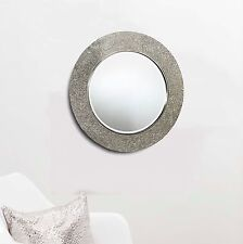 Round Crackle Mirror Mosaic Silver Frame 40 x 40cm Bedroom Bathroom Hall Home