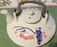 Teapot Japanese Small Flat Bright White With Red/Blue Geisha Bridge NICE