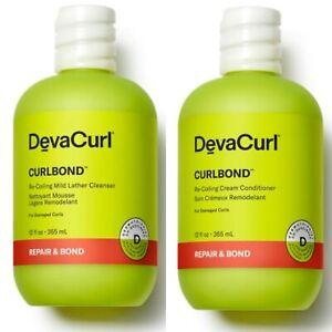 2 PK! DEVACURL CURLS SHAMPOO & CONDITIONER 12 OZ CURLBOND CURL BOND DAMAGED HAIR