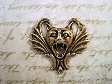 Large Oxidized Brass Plated Gargoyle Bat Stamping (1) -BORAT6554 Jewelry Finding