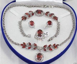 Bridal jewelry ruby 9K Necklace Bracelet Earring Ring Sets