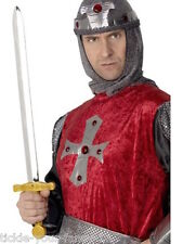 Boys Mens Knight's Sword Weapons Crusader Set Sword Accessory Kids Sword Gold