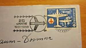 Swissair 25 years -1931 - 1956 - cover sent from Switzerland to France