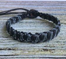 Black & Gray Organic Hemp Fishbone Bracelet Men's Unisex Adjustable Pick Size