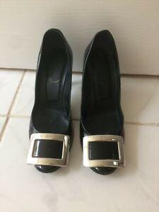 Roger Vivier black patent shoes with silver buckle design. Size 35, size 2