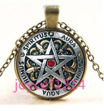Vintage Pentagram Wiccan Cabochon bronze Glass Chain Pendant Necklace TS-3326