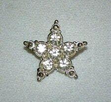 3695~Vintage Silvertone Clear Rhinestone Figural STAR 24mm Button**