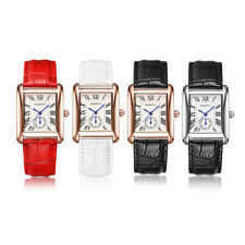 Woman Rectangle Square Simple Watch Lady Roman Number Leather Strap Wristwatch
