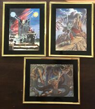 Fantasy Foil Art Lot Knight & Castle/ Dragon & Swordsman/ Wizard-Lightning 1990s