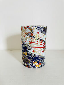 Japanese Loose Leaf Tea Tin With Blue Floral Japanese Paper Exterior