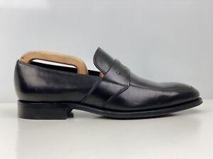 Barker Mens Black Leather Penny Loafers UK Size 8