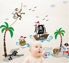 Monkey Pirate Ship Wall Decals Removable Stickers Kids Decor Mural Gift Art