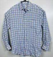 Peter Millar 100% Linen Button Down Shirt Plaid Mens Size L White Blue Tan EUC