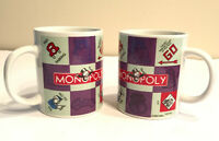 Set Of Two (2) Hasbro 2002 MONOPOLY Board Game Coffee Tea Mug! Sherwood Brands