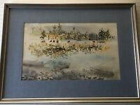 """Original Watercolor Painting, Signed by Gore, Framed, 21"""" x 12 1/2"""" (Image)"""