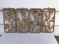 Vintage 1955 MCM Wall Art Plaques 4 Seasons of Flowers Gold Plastic Syroco USA