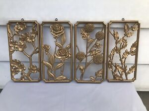 Vintage 1955 MCM Wall Art Plaques 4 Seasons of Flowers Gold Plastic Syroco USA