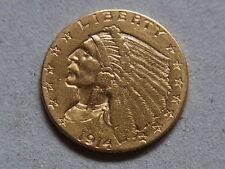 U.S.A. 1914-D Gold 2 1/2 Dollars - Quarter Eagle..  gVF - Trace Lustre