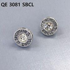 Silver Finish Clear Stone Shotgun Shell 12 GA Engraved Bullet Shape  Earrings