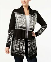 NEW Style & Co Patterned Fringe Cardigan Sweater Black Combo Sz S, M or L $69