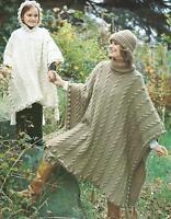 Ladies Girls Knitting Pattern Poncho Hat Chunky Knit  Retro 274