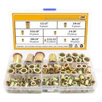 128Pcs Nutserts Rivet Nuts Flange Rivnuts Zinc Plated Steel Nutsert M3-M12 Kit