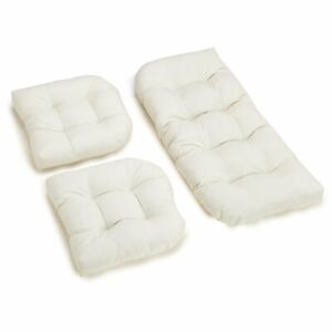 U-Shaped Twill Tufted Settee Cushion Set (Set of 3) - Grey