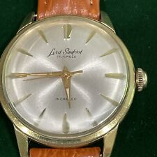 LORD SANFORD 17 Jewel 10k Gold Plate Rare Winding Works New Leather Strap