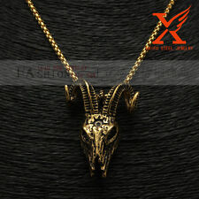 """Stainless Steel Black Gold Goat Head Skull Pendant Necklace Box Chain 3MM 24"""""""