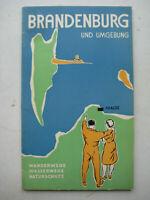 Brandenburg und Umgebung an der Havel Wanderkarte Wanderführer 1951 Wasserwege