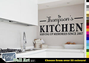 PERSONALISED Family Kitchen Wall Art Quote - Wall Sticker Decal + FREE P&P!