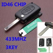 3 Buttons Remote Locking Key Fob Case 433MHZ ID46 Chip for Peugeot Citroen