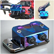 1 Pcs Aluminum Blue Motorcycle Headlight Switch Pump Cover Dual Switch Design