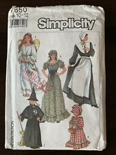 Simplicity 7650 Witch Angel Pilgrim Prairie Dress Costurme Haloween Girl's 10 12