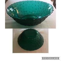 VINTAGE Avocado Green Carnival Glass  Serving Bowl Pebble Hobnail Rain Drops