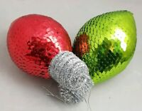 "Christmas Bulb Ornament Set 2 Red Green Vintage Extra Large 8"" Christmas Decor"