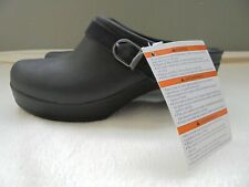 NWT CROCS LADIES BLACK SLIP ON CLOGS LOAFERS BUCKLE SHOES Sz 6