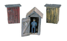 HO Scale Woodland Scenics 3 OUTHOUSES AND MAN scenic details set