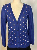 Maison Jules Macy's Royal blue polkadot V-neck cardigan sweater size large L