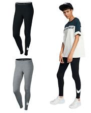 Nike Womens Leggings Running Yoga Pants Ladies Sports Training Swoosh Black Grey