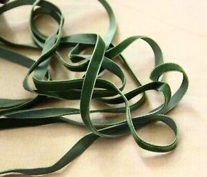 Vintage Velvet Ribbon Grass green sewing trim 5 yards made in Switzerland