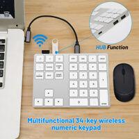 Aluminum bluetooth Numeric Keypad Wireless Number Pad Keyboard for Apple Windows