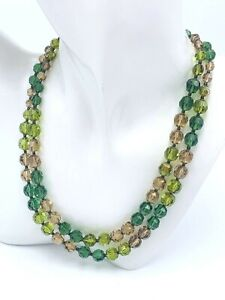 Marvella Double Strand Choker Necklace Green & Amber Auroral Borealis Beads